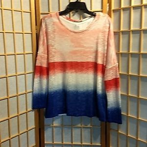 Red white and blue ombre sweater.